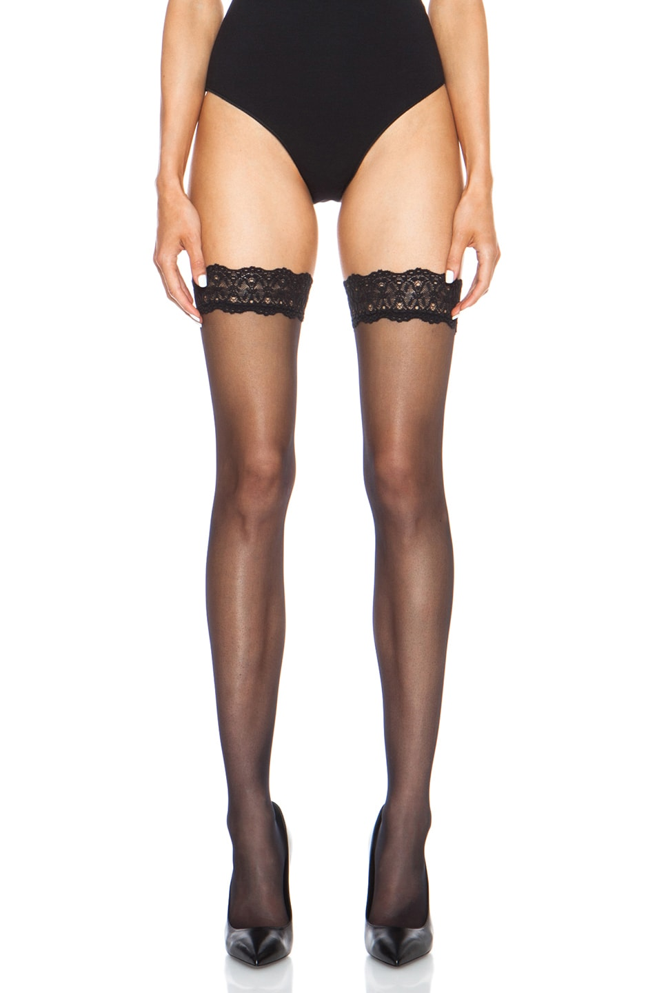 8d40b2aa6477ef Image 1 of Wolford Individual 10 Stay Up Polyamide-Blend Tights in Black