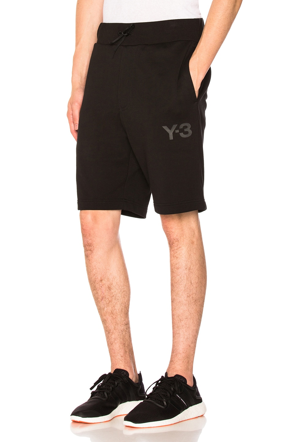 Logo-Print Drawstring-Waist Cotton Shorts in Black
