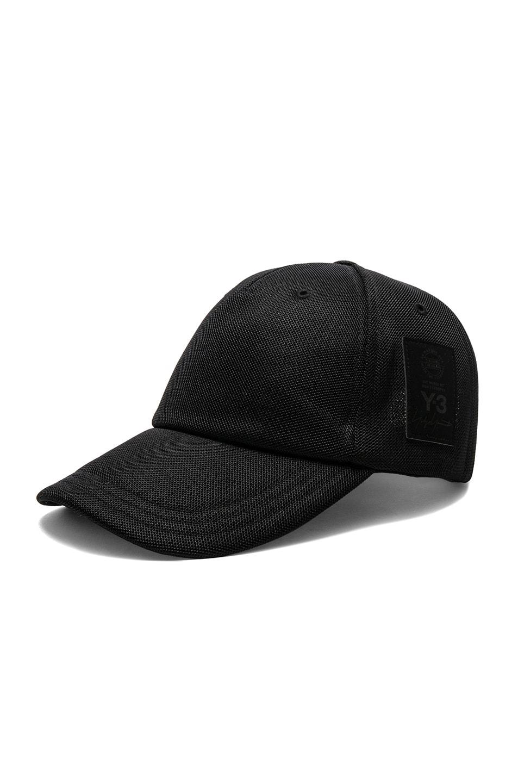 Image 2 of Y-3 Yohji Yamamoto Badge Cap in Black