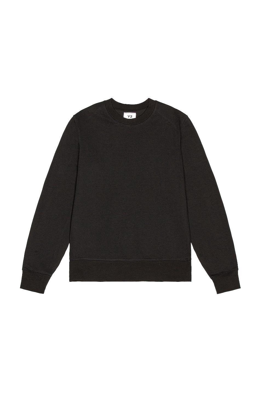 Image 1 of Y-3 Yohji Yamamoto Back Logo Crew Sweatshirt in Black