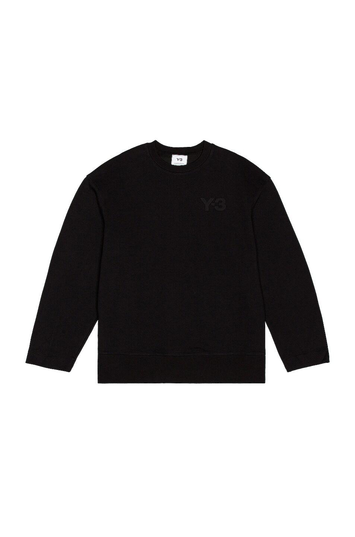 Image 1 of Y-3 Yohji Yamamoto Chest Logo Crew Sweatshirt in Black