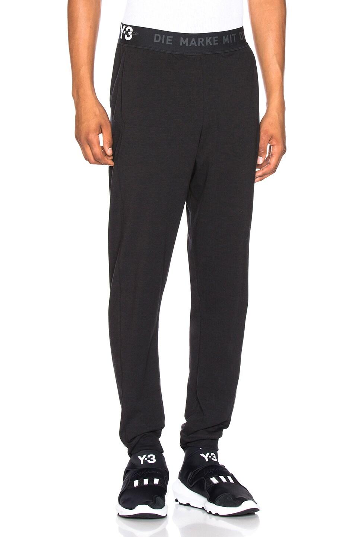 Image 1 of Y-3 Yohji Yamamoto Logo Long John Pant in Black
