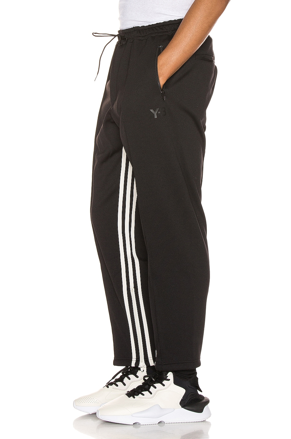 Image 1 of Y-3 Yohji Yamamoto 3 Striped Cropped Track Pant in Black & Ecru