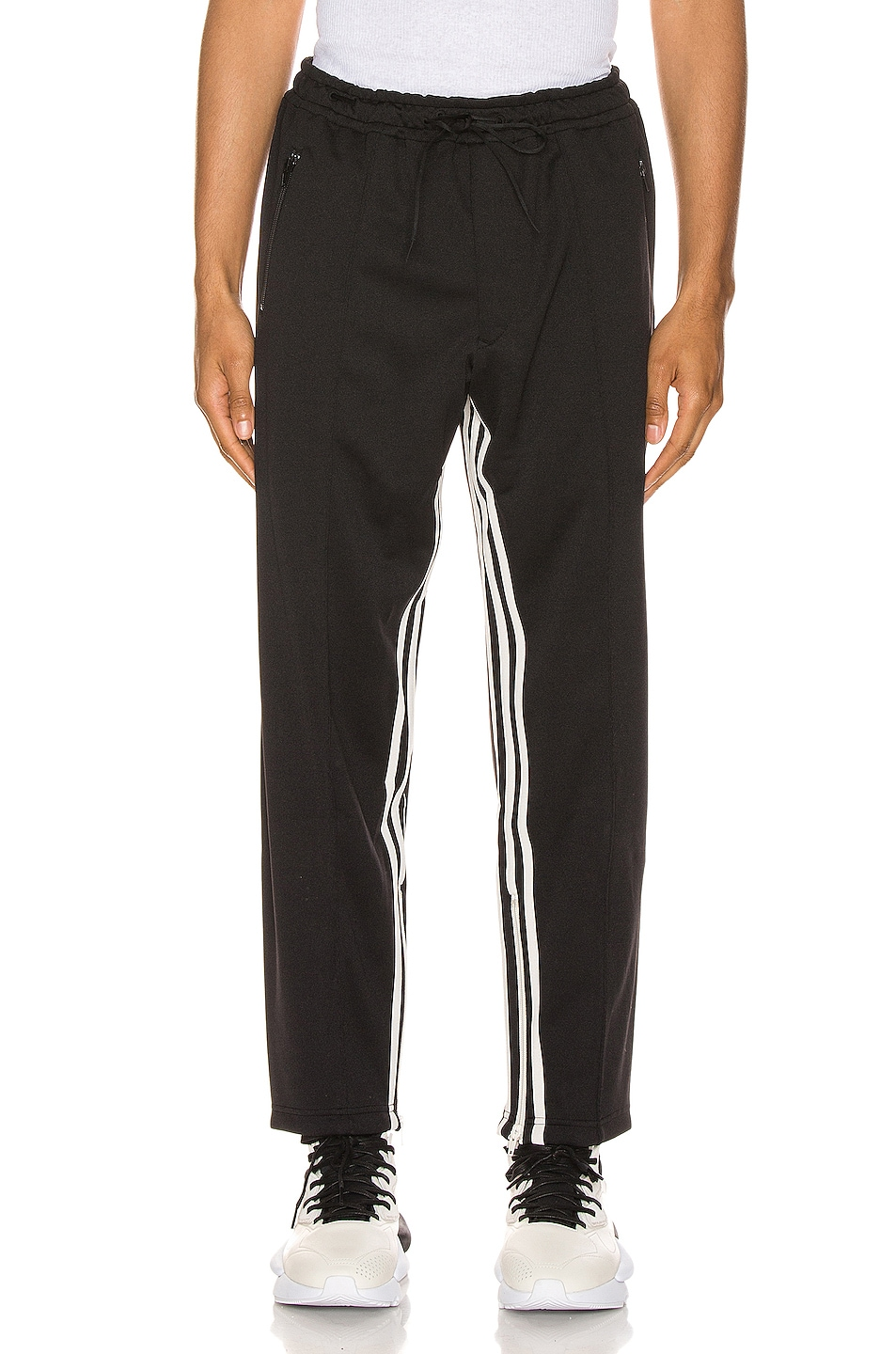 Image 2 of Y-3 Yohji Yamamoto 3 Striped Cropped Track Pant in Black & Ecru