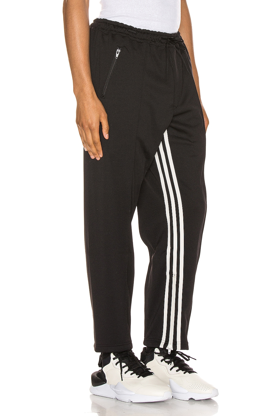 Image 3 of Y-3 Yohji Yamamoto 3 Striped Cropped Track Pant in Black & Ecru