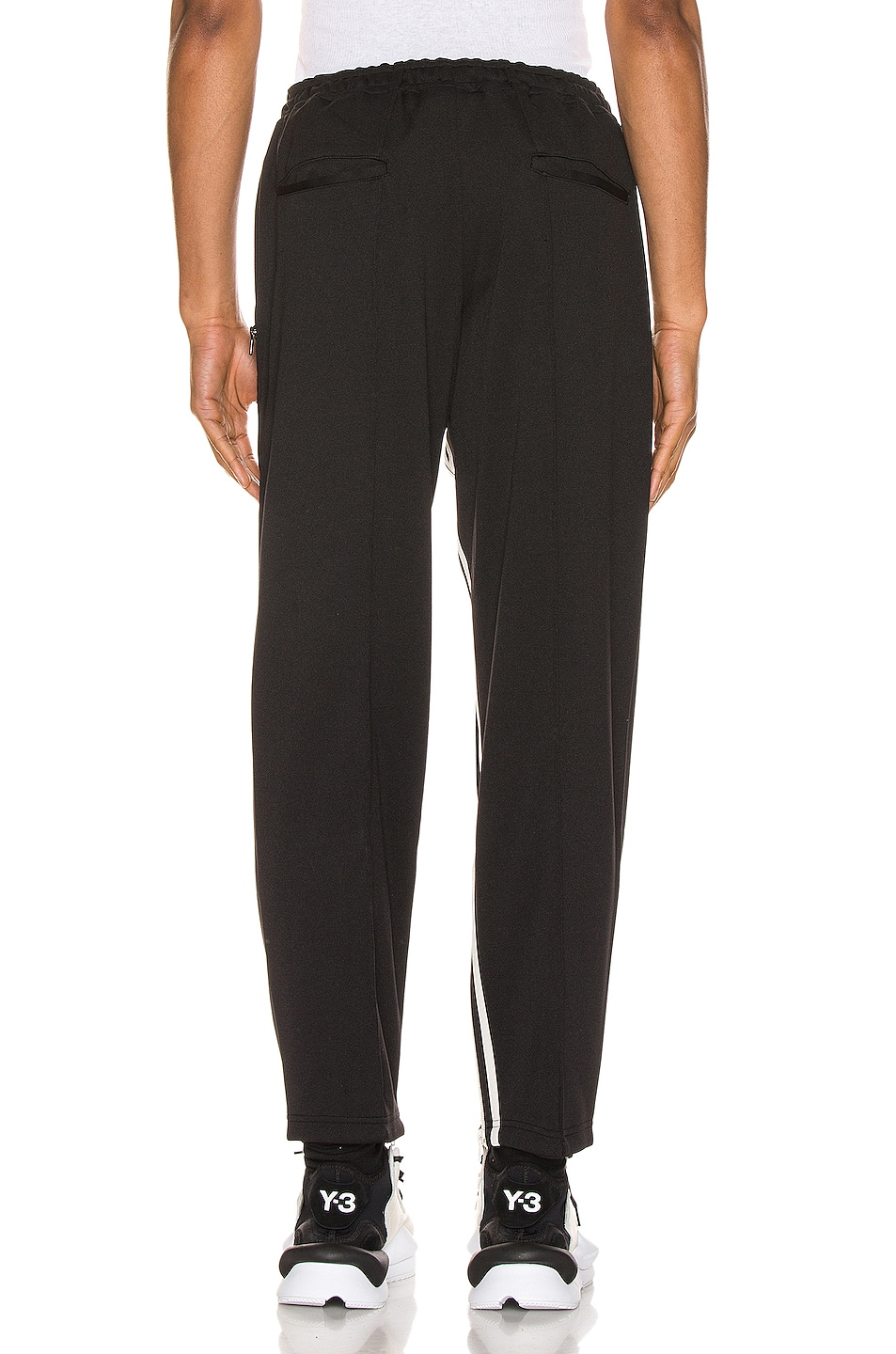 Image 4 of Y-3 Yohji Yamamoto 3 Striped Cropped Track Pant in Black & Ecru