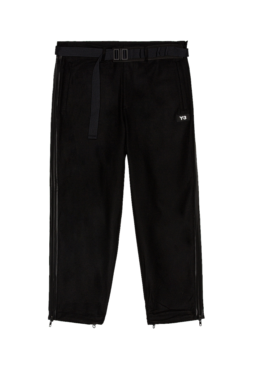 Image 1 of Y-3 Yohji Yamamoto M Ch3 Wool Flannel Cropped Pants in Black