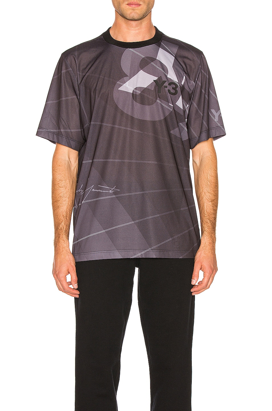 Image 1 of Y-3 Yohji Yamamoto Football Shirt in Parachute Black