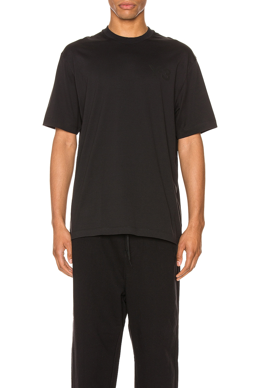 Image 1 of Y-3 Yohji Yamamoto Chest Logo Tee in Black