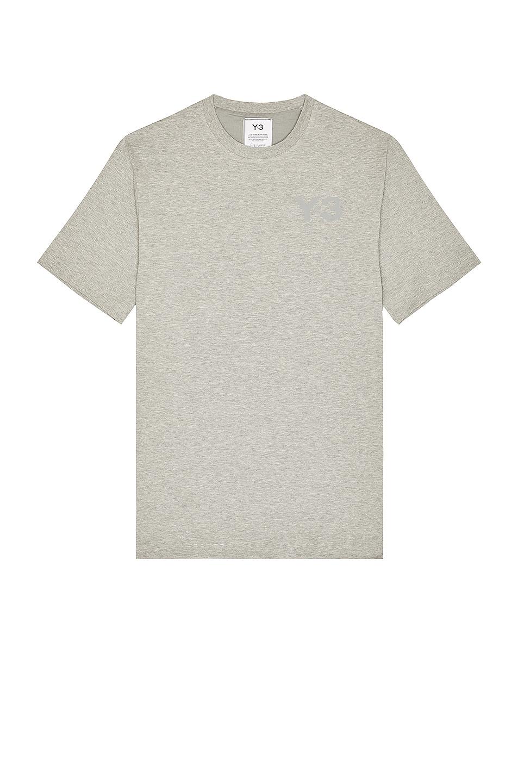 Image 1 of Y-3 Yohji Yamamoto Chest Logo Short Sleeve Tee in Medium Grey Heather