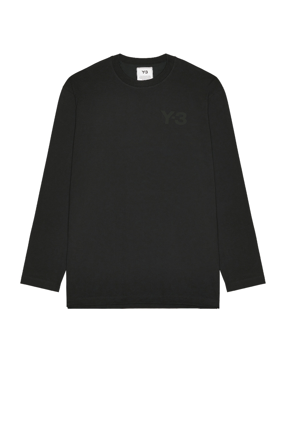 Image 1 of Y-3 Yohji Yamamoto Chest Logo Long Sleeve Tee in Black