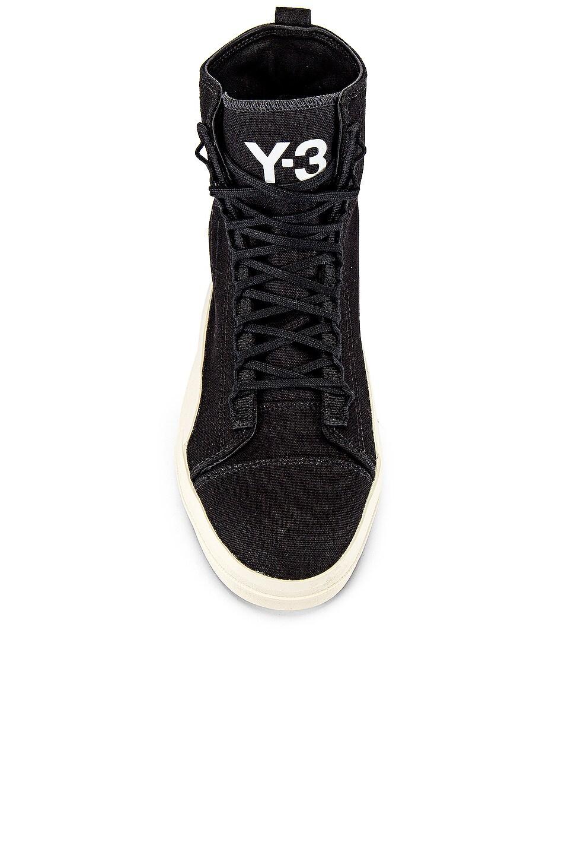 Image 4 of Y-3 Yohji Yamamoto Yuben Mid in Black Y3 & Black Y3 & White
