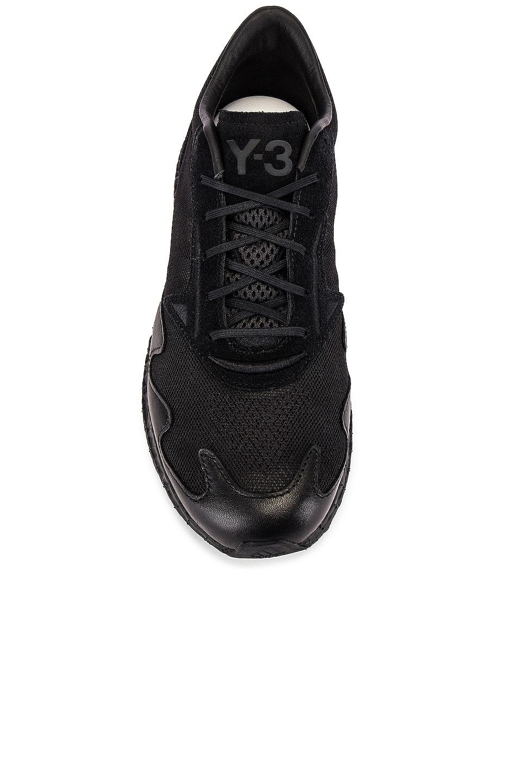 Image 4 of Y-3 Yohji Yamamoto Rhisu Runner in Black & Black & Black