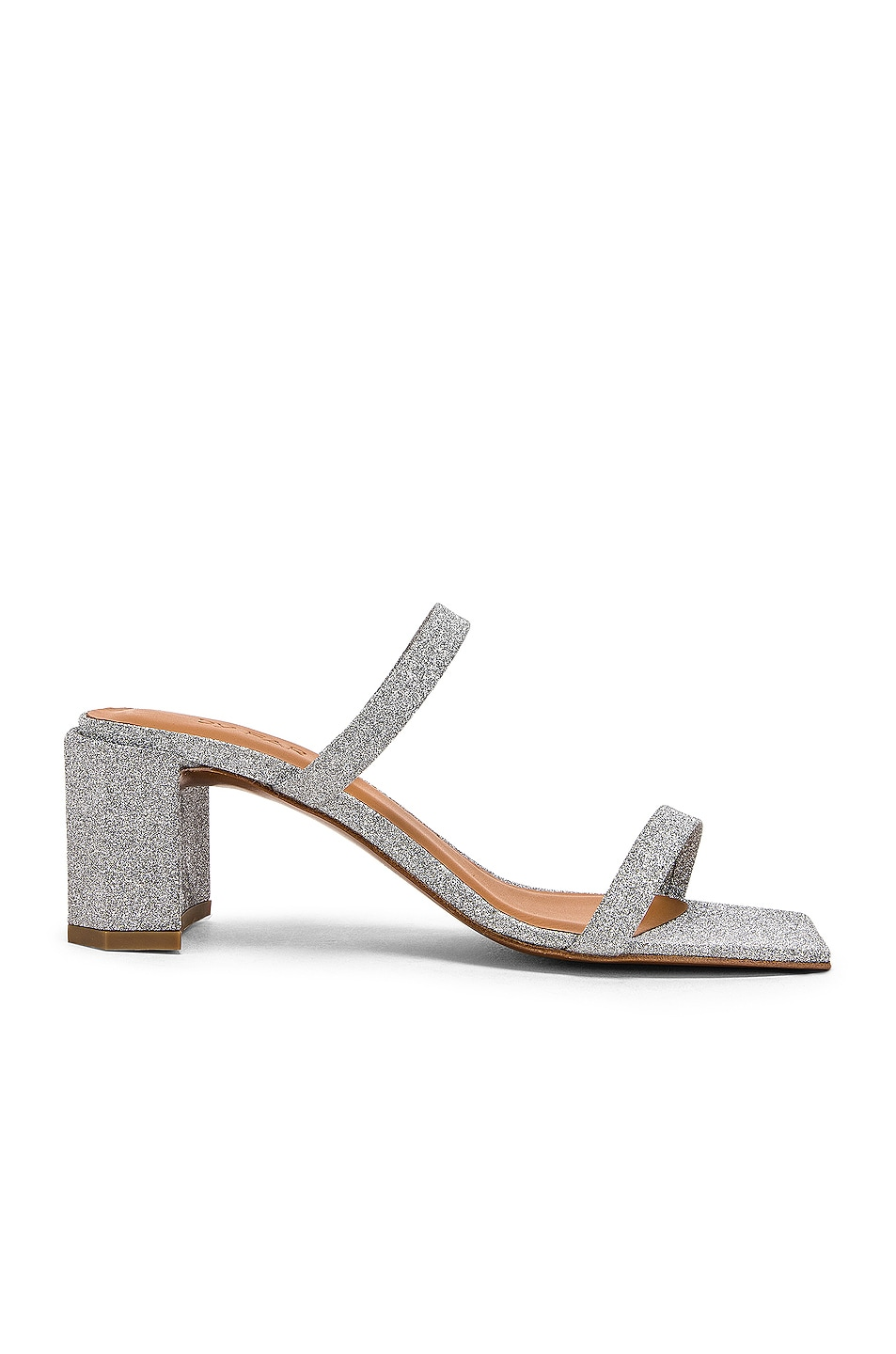 Image 1 of By Far Tanya Sandal in Silver Glitter