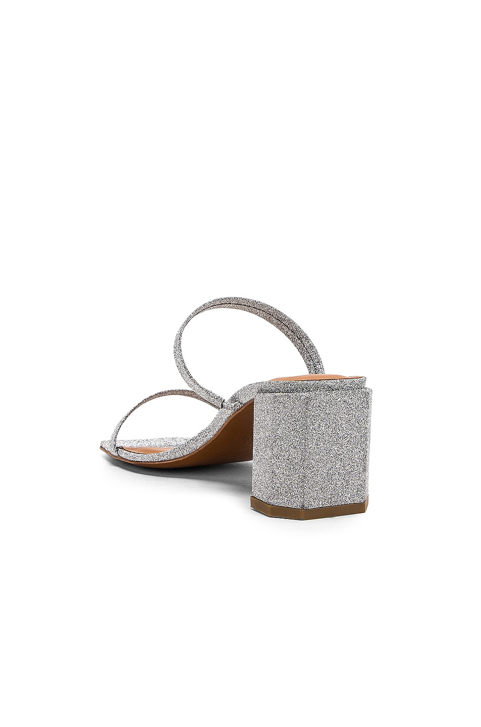 Image 3 of By Far Tanya Sandal in Silver Glitter