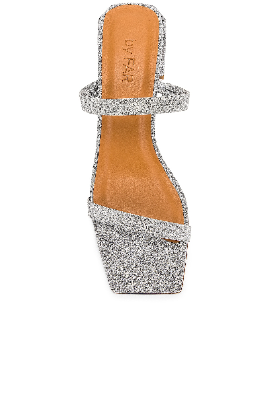 Image 4 of By Far Tanya Sandal in Silver Glitter