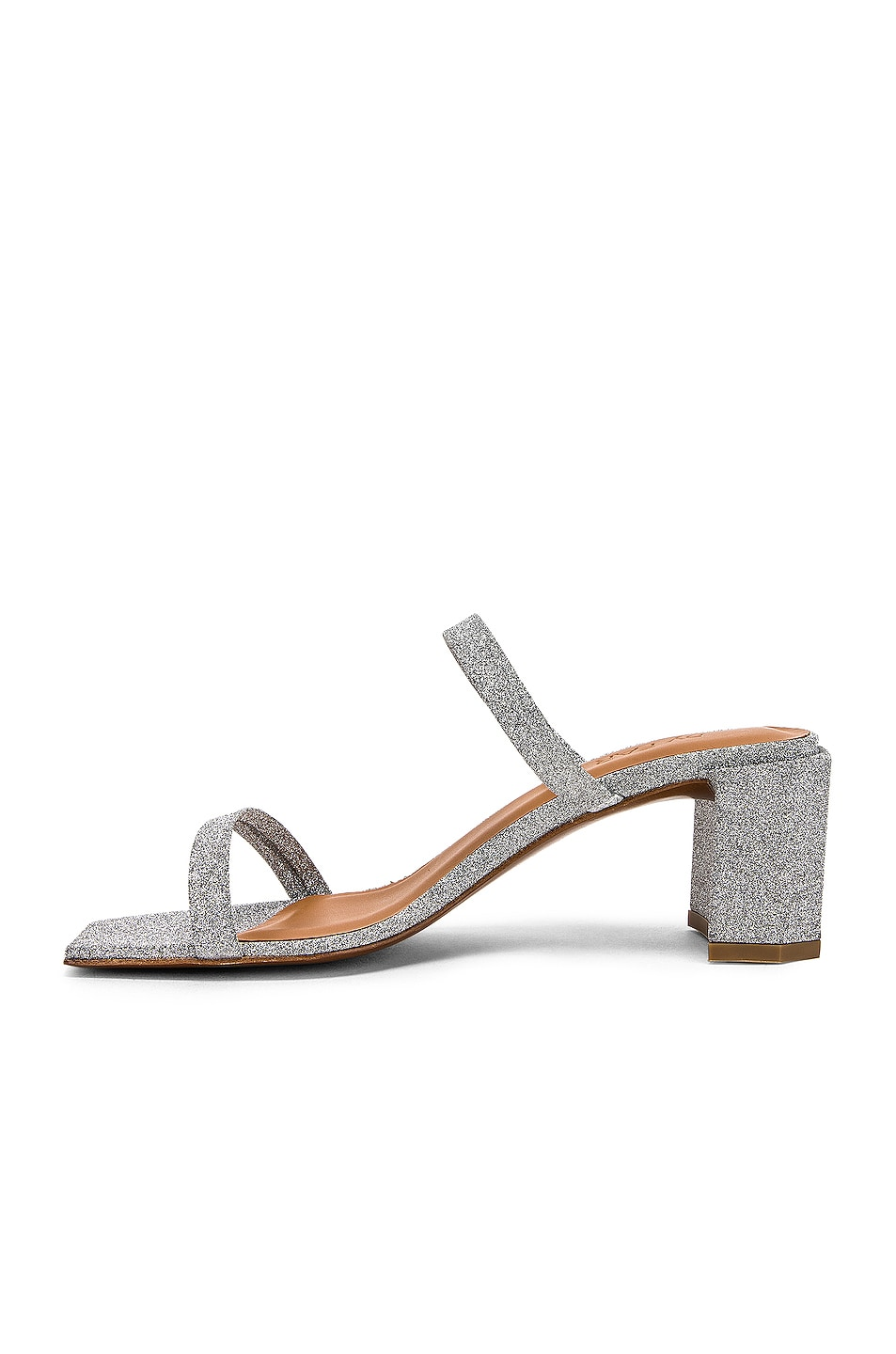 Image 5 of By Far Tanya Sandal in Silver Glitter