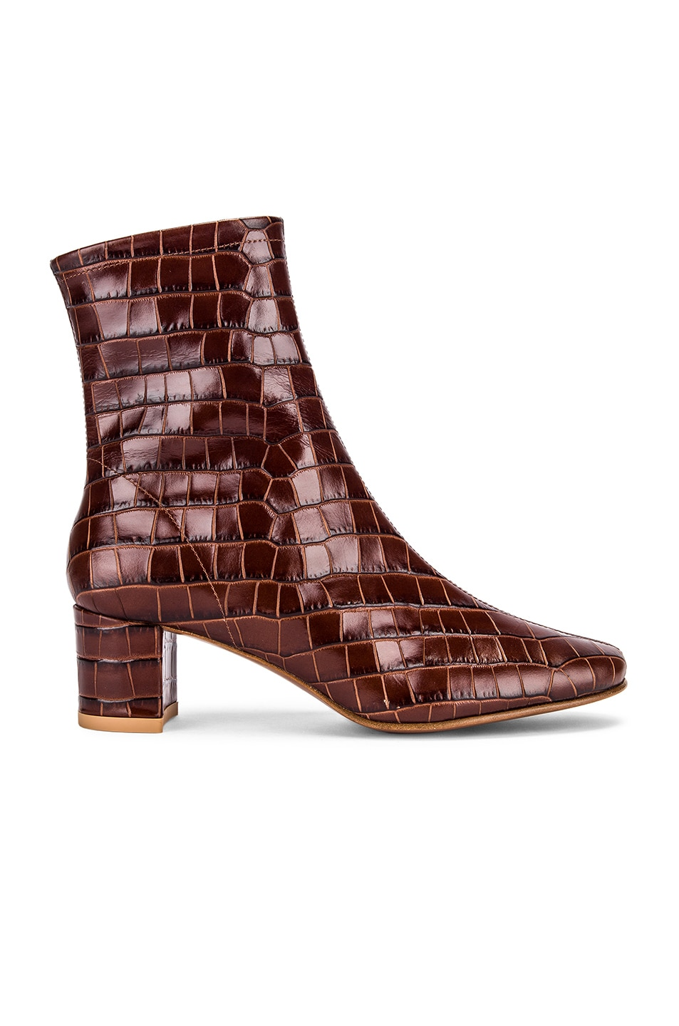 Image 1 of BY FAR Sofia Croco Embossed Leather Boot in Nutella