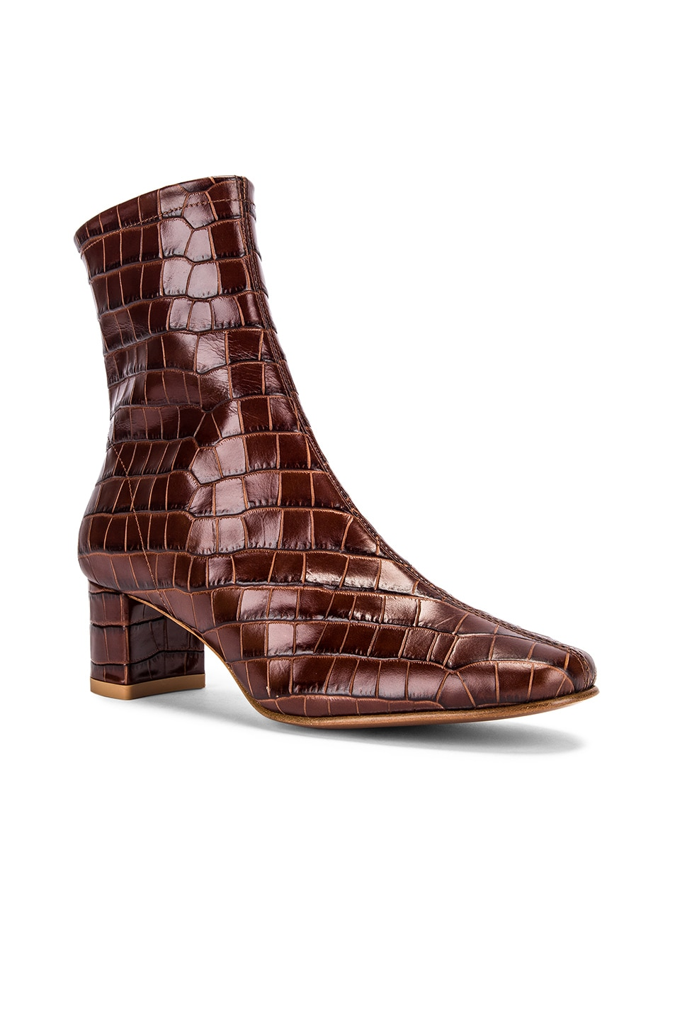Image 2 of BY FAR Sofia Croco Embossed Leather Boot in Nutella