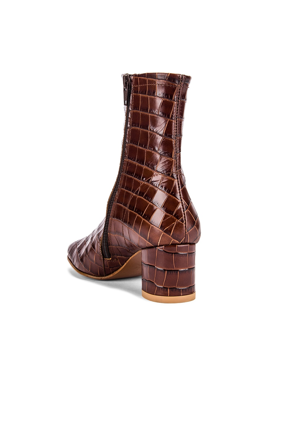 Image 3 of By Far Sofia Croco Embossed Leather Boot in Nutella