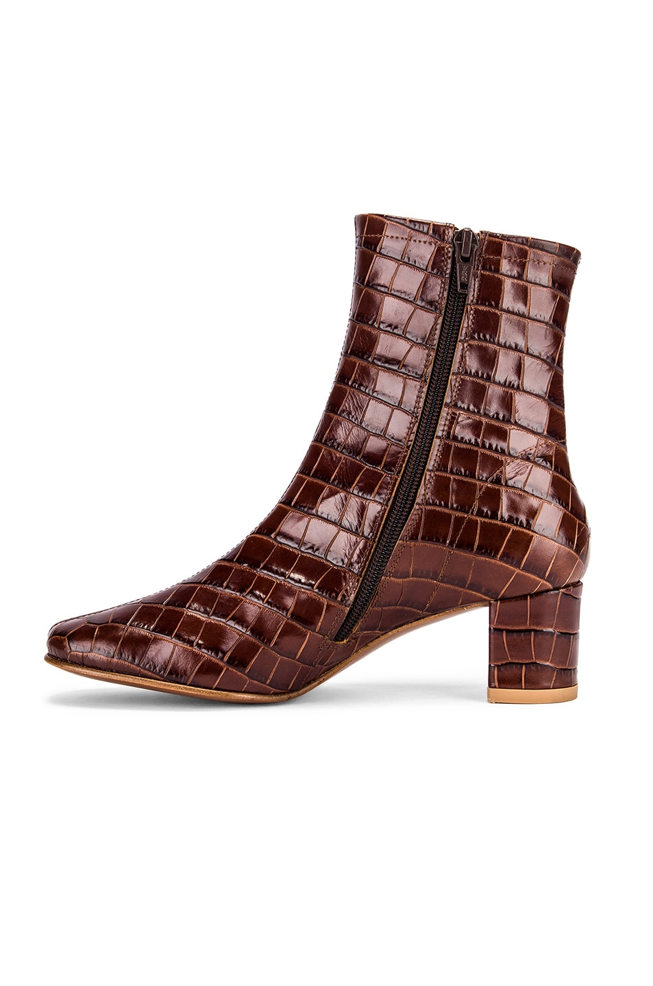 Image 5 of BY FAR Sofia Croco Embossed Leather Boot in Nutella