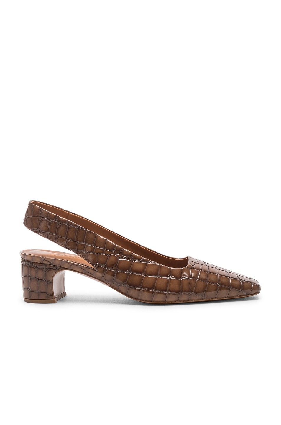 Image 1 of BY FAR Danielle in Brown Croc Embossed Patent
