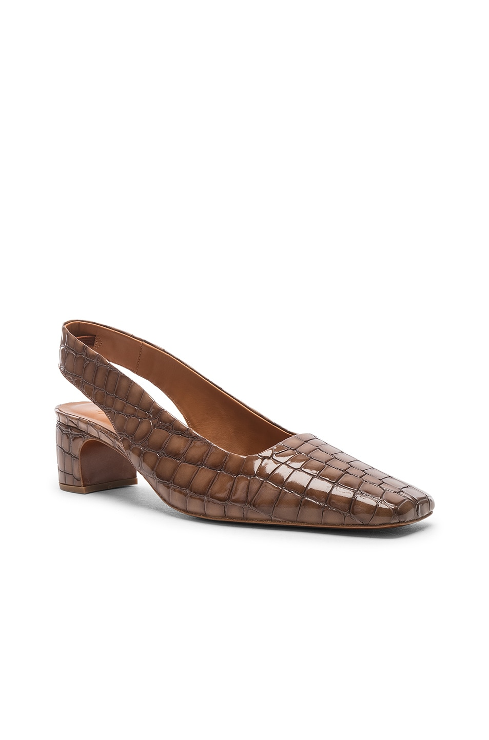 Image 2 of BY FAR Danielle in Brown Croc Embossed Patent