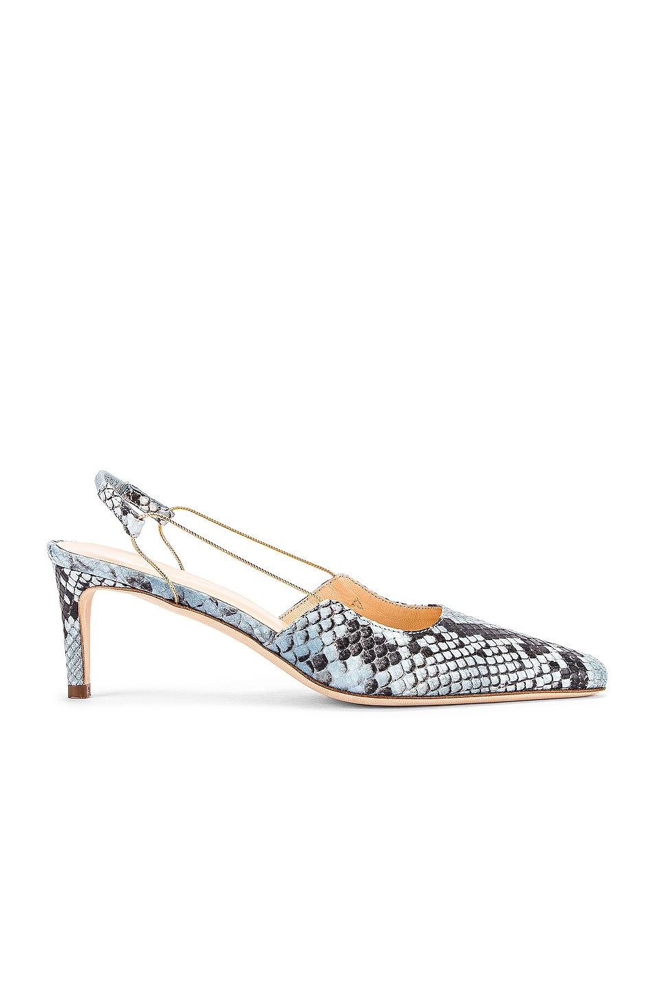 Image 1 of BY FAR Gabriella Snake Print Leather Pump in Light Blue