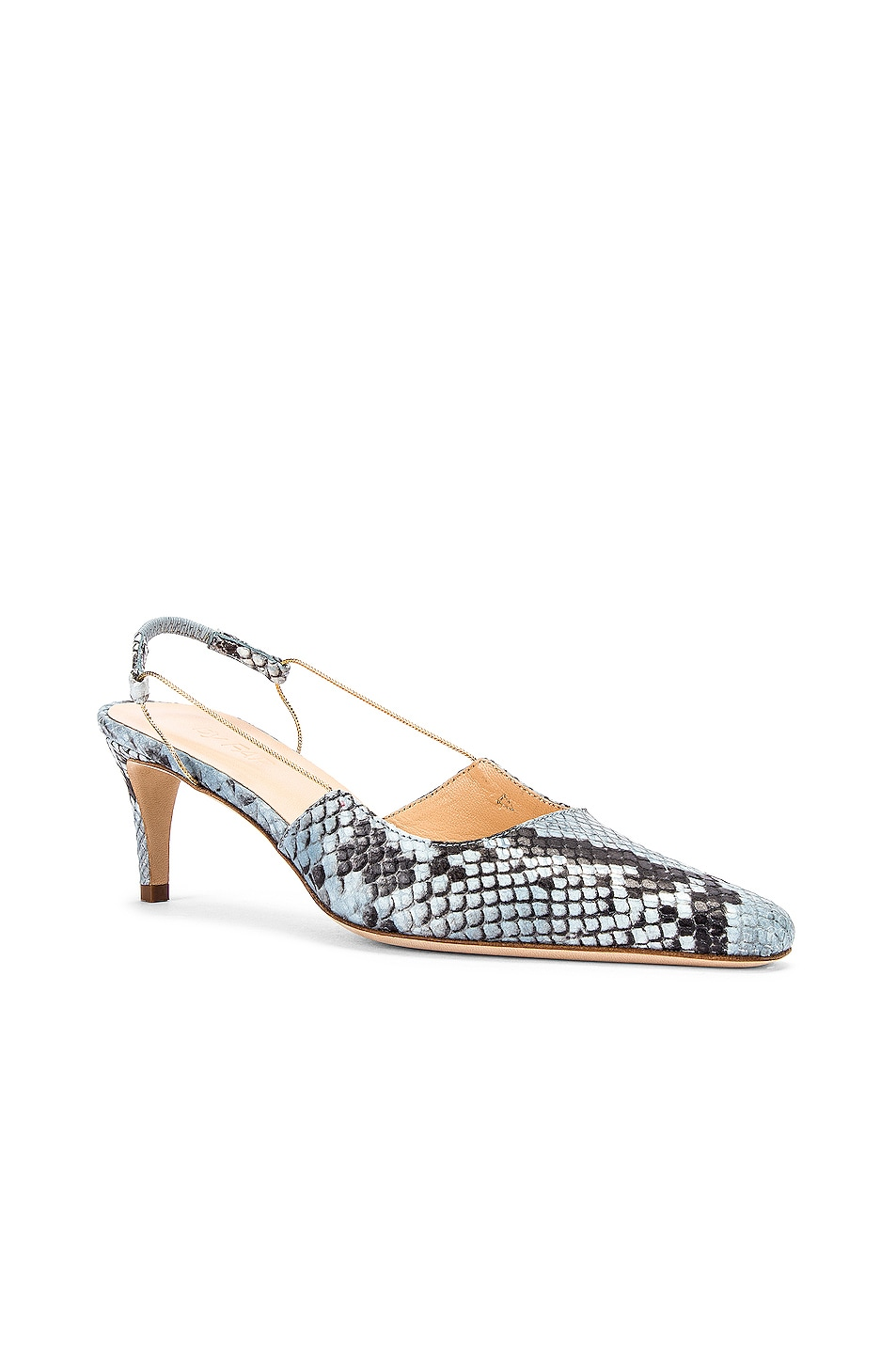 Image 2 of BY FAR Gabriella Snake Print Leather Pump in Light Blue