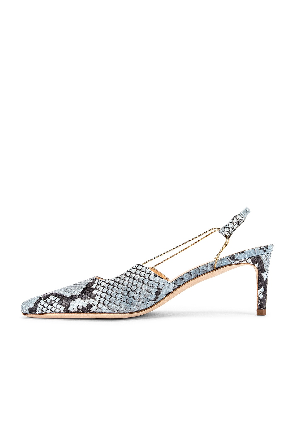 Image 5 of BY FAR Gabriella Snake Print Leather Pump in Light Blue