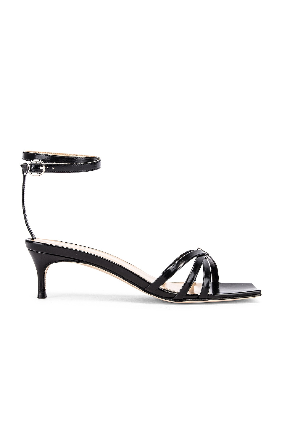 Image 1 of BY FAR Kaia Semi Patent Leather Sandal in Black