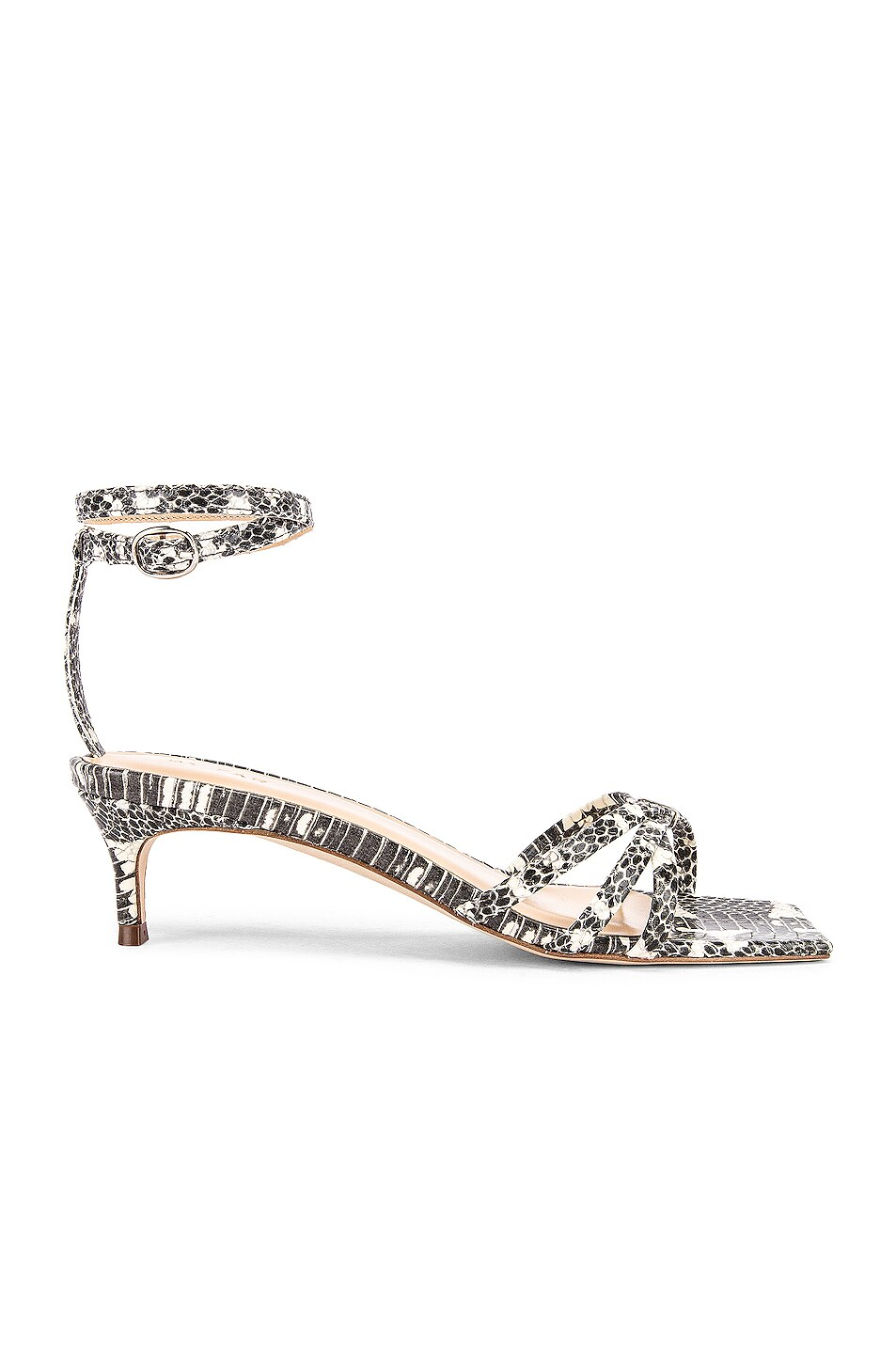 Image 1 of BY FAR Kaia Snake Print Leather Sandal in Graphic