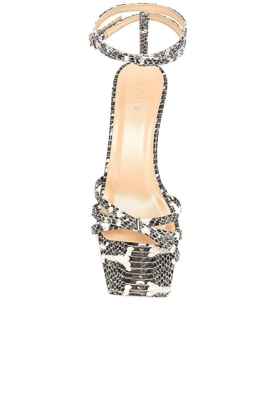 Image 4 of BY FAR Kaia Snake Print Leather Sandal in Graphic