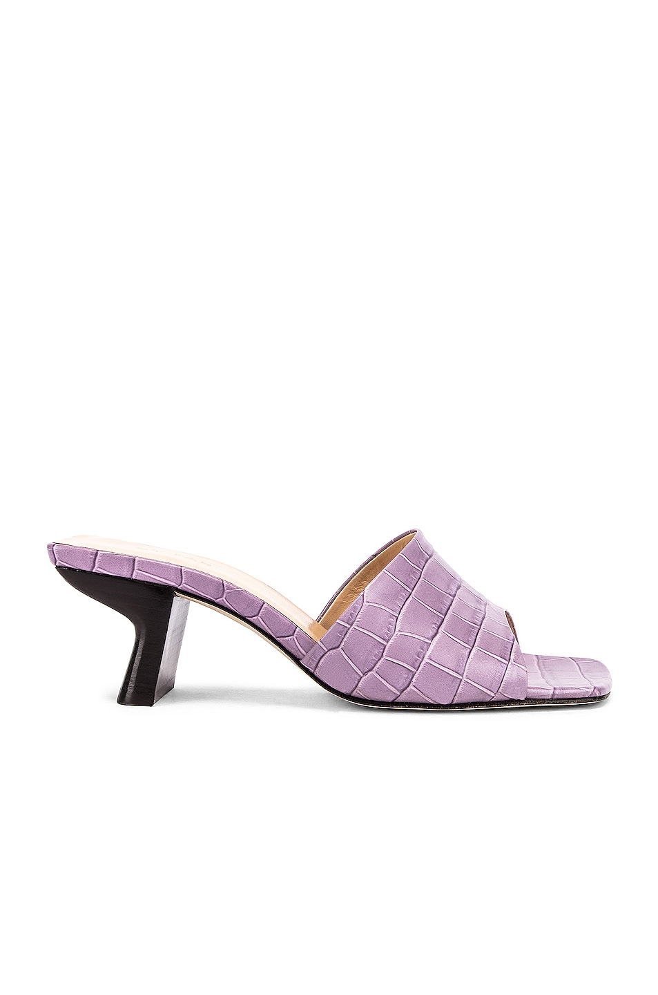 Image 1 of BY FAR Lily Croco Embossed Leather Mule in Lilac
