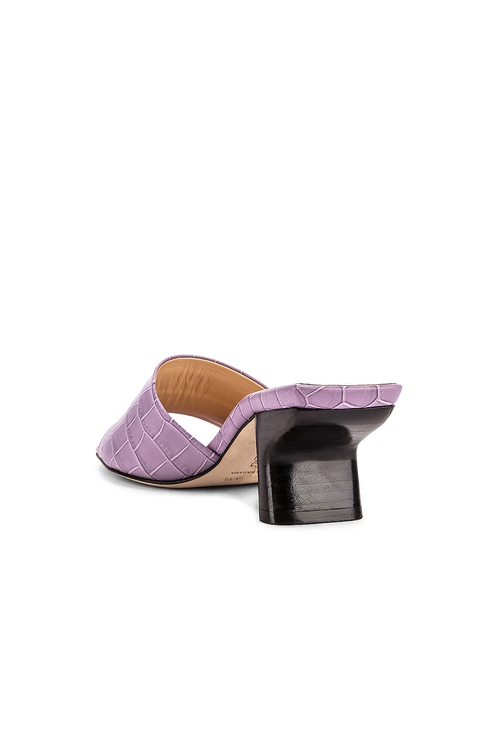 Image 3 of BY FAR Lily Croco Embossed Leather Mule in Lilac