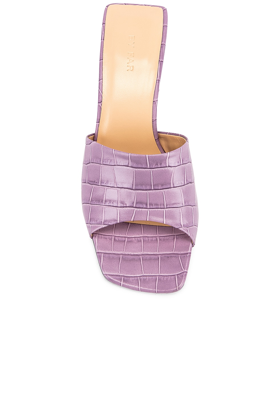 Image 4 of BY FAR Lily Croco Embossed Leather Mule in Lilac