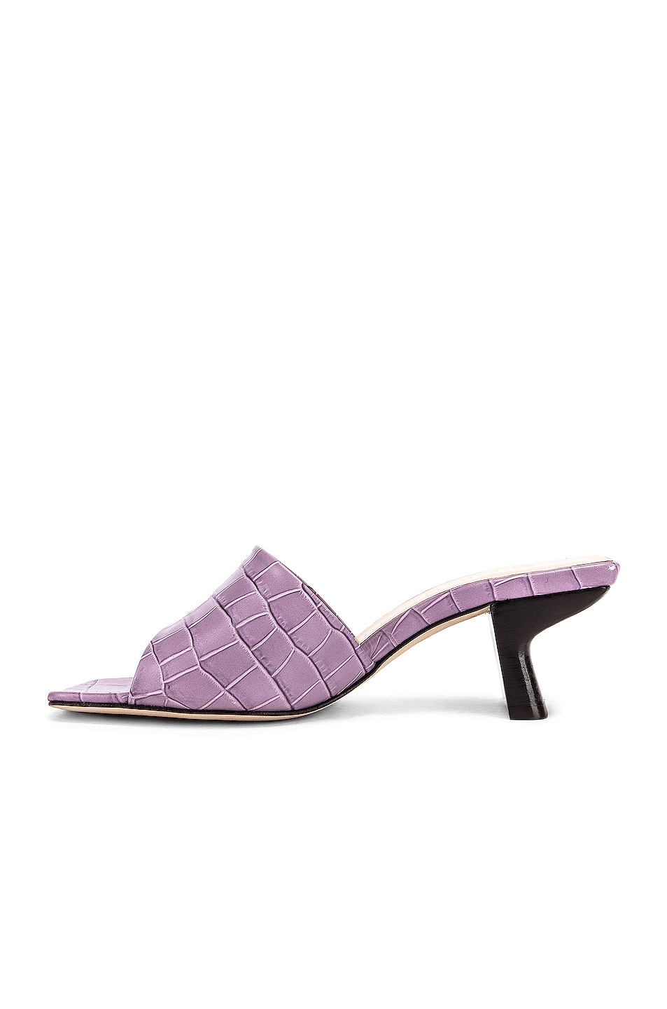 Image 5 of BY FAR Lily Croco Embossed Leather Mule in Lilac