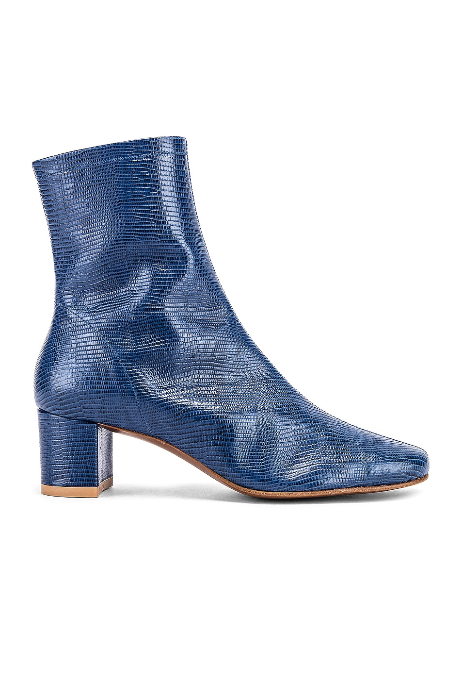 Image 1 of BY FAR Sofia Lizard Embossed Leather Boots in Deep Blue