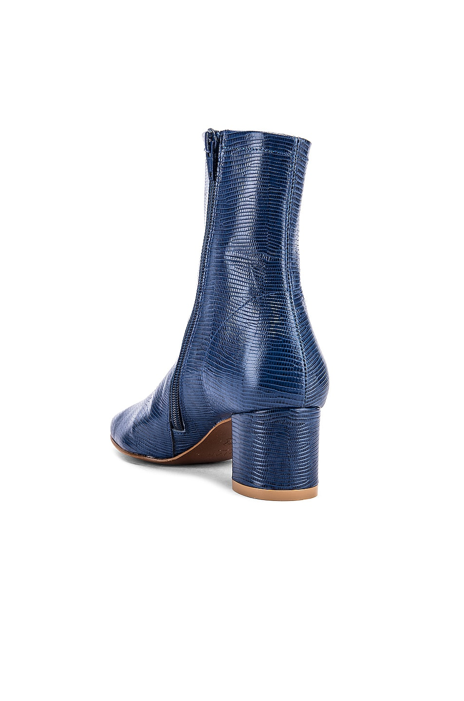 Image 3 of BY FAR Sofia Lizard Embossed Leather Boots in Deep Blue