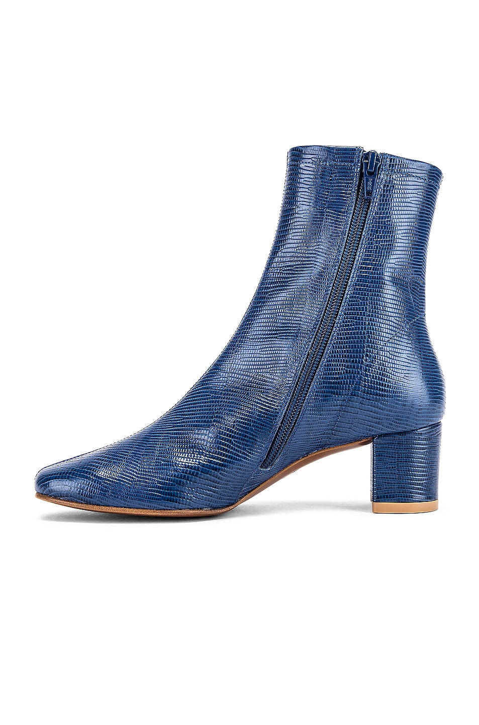 Image 5 of BY FAR Sofia Lizard Embossed Leather Boots in Deep Blue