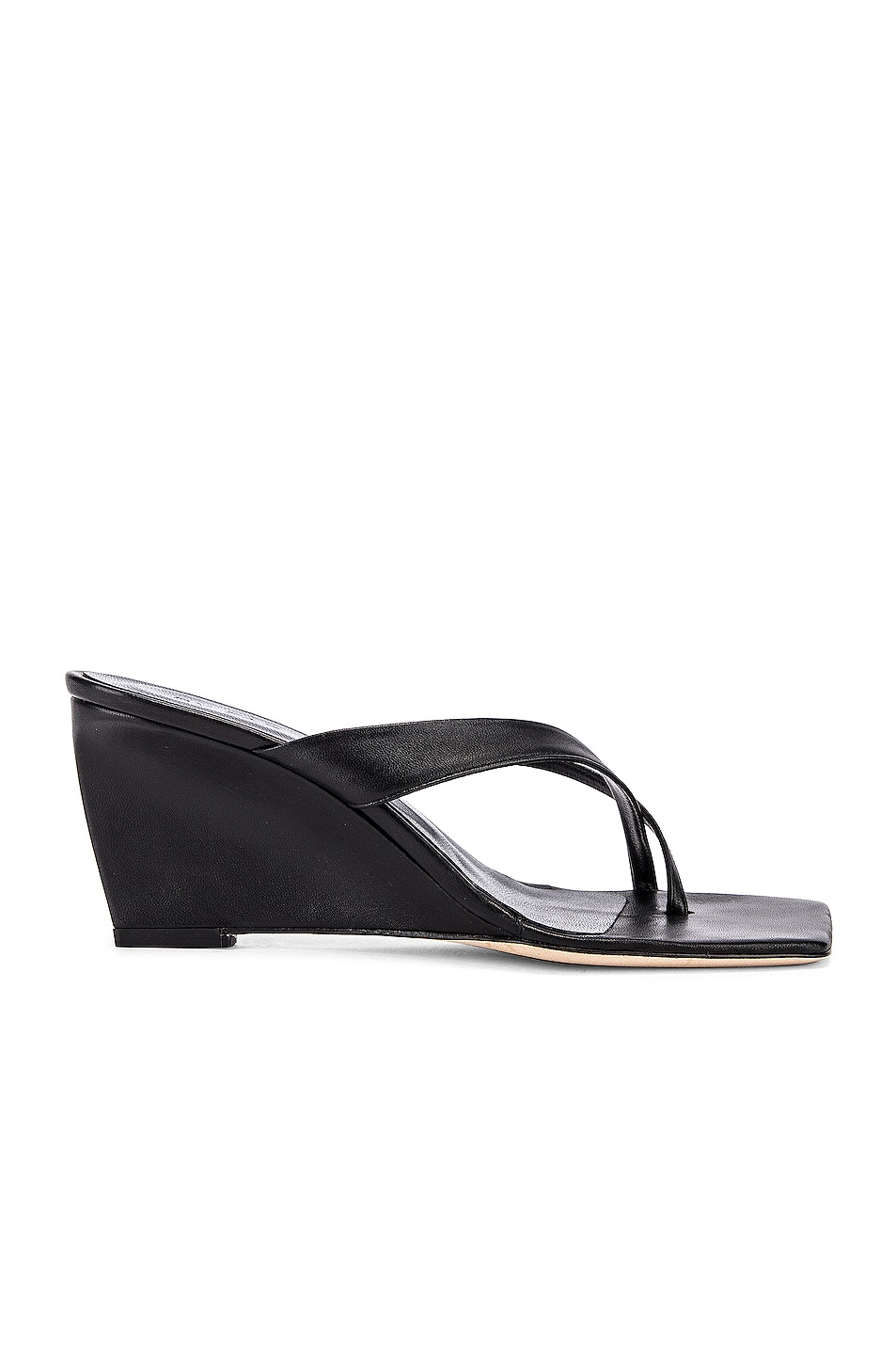 Image 1 of BY FAR Theresa Leather Wedge in Black