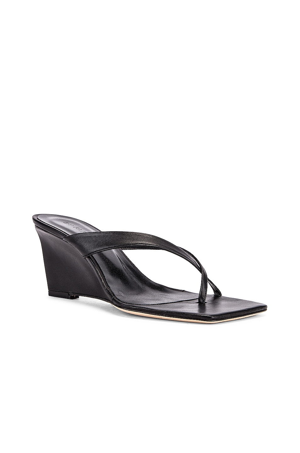 Image 2 of BY FAR Theresa Leather Wedge in Black