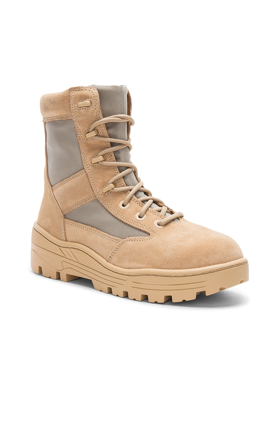 4661f6f48bdf7 Image 1 of YEEZY Season 4 Suede Combat Boots in Sand