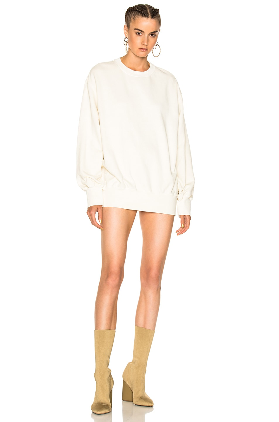 Image 1 of YEEZY Season 4 Boxy Crewneck Sweatshirt in Bleach