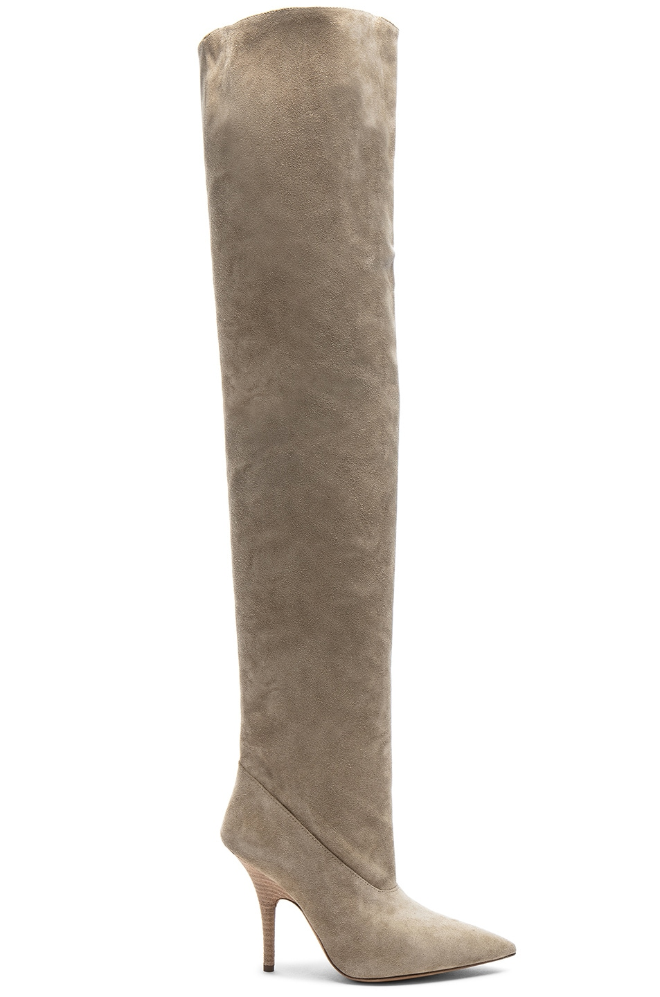 Image 1 of YEEZY Season 5 Suede Tubular Thigh High Boots in Taupe