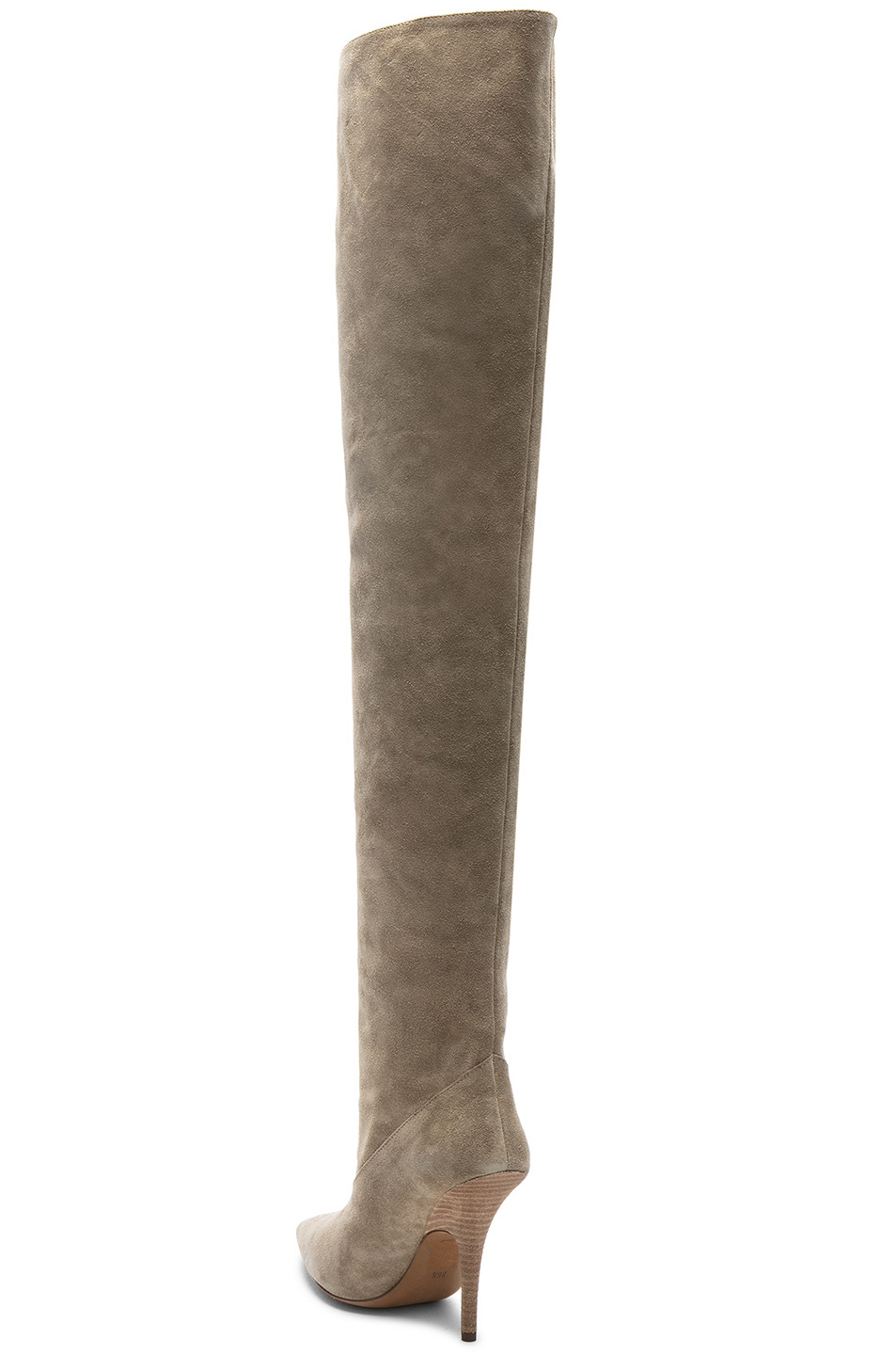 a1ff0cd27f7 YEEZY Season 5 Suede Tubular Thigh High Boots in Taupe | FWRD