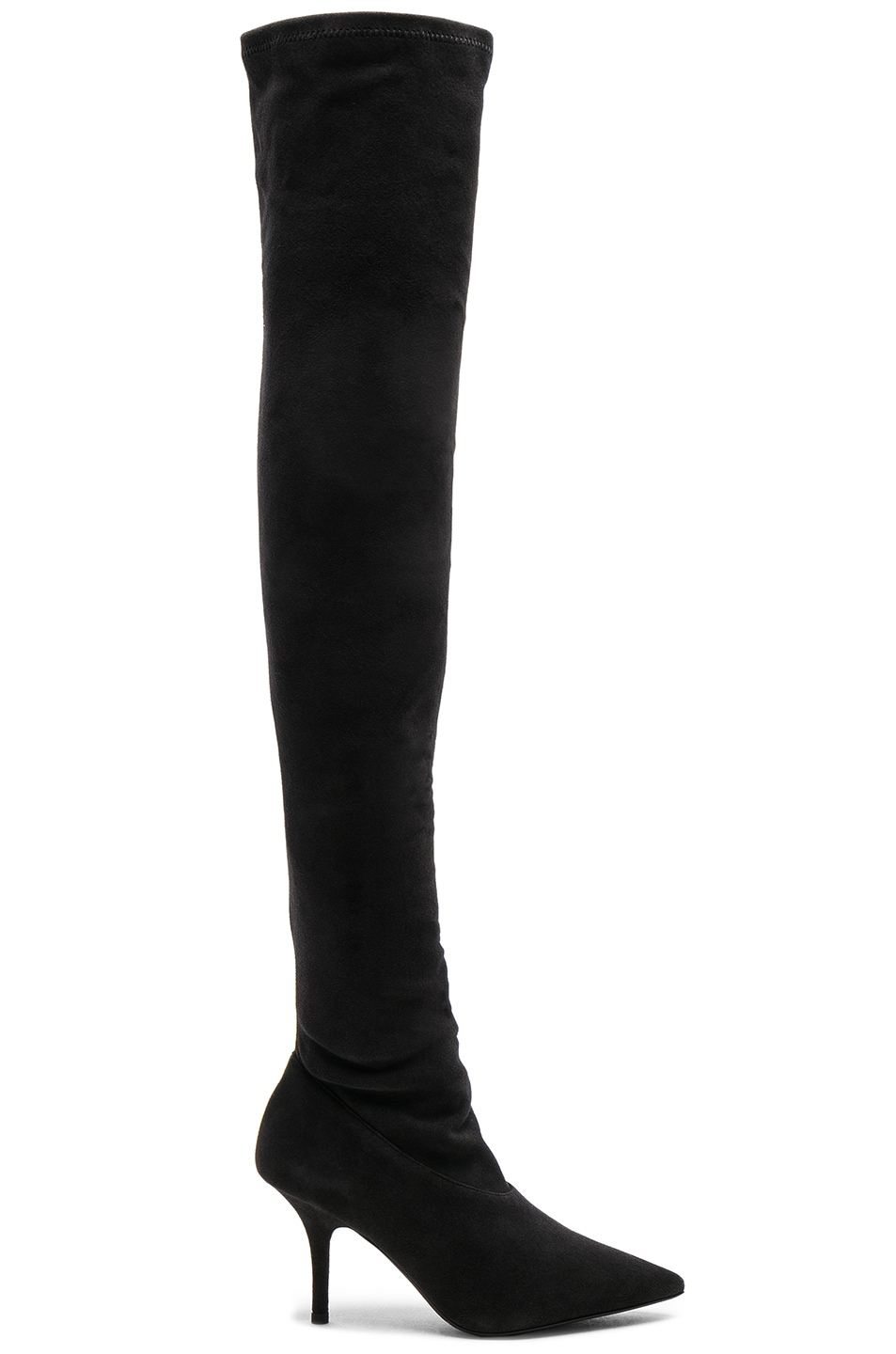 8fe79d5e716d3 Image 1 of YEEZY Season 5 Suede Thigh High Boots in Graphite
