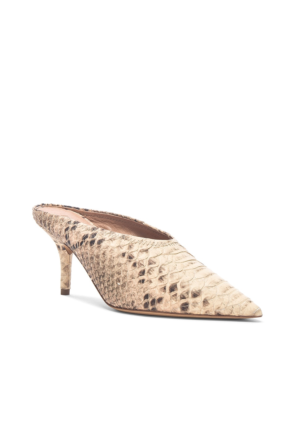 Image 2 of YEEZY Season 6 Faux Python Embossed Leather Mule Pumps in Roccia Mesa