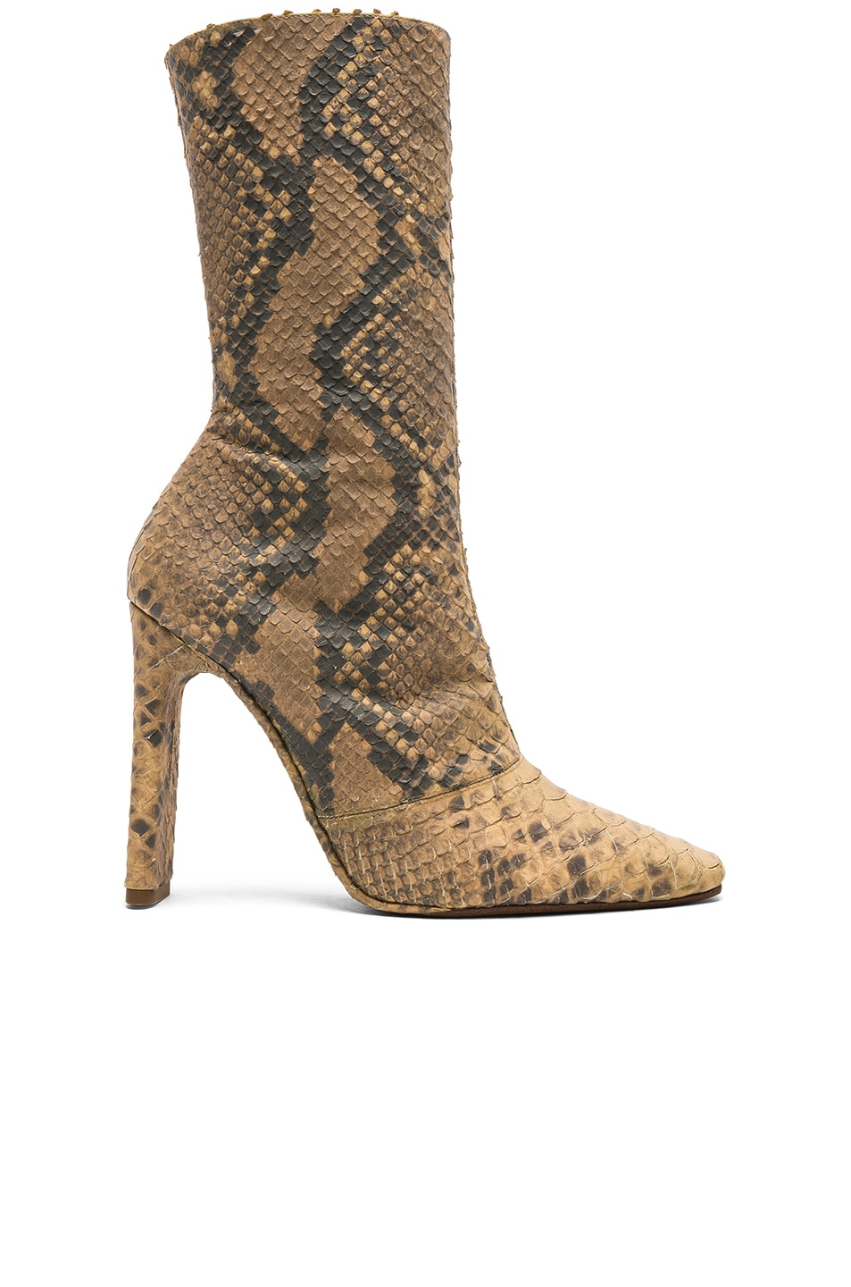 Image 1 of YEEZY Season 6 Python Embossed Ankle Boots in Military Dark