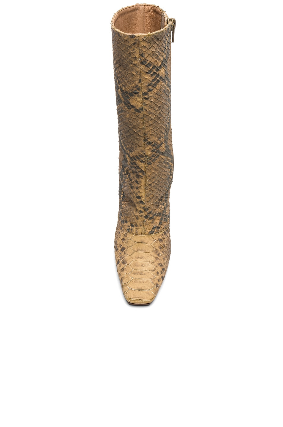 Image 4 of YEEZY Season 6 Python Embossed Ankle Boots in Military Dark
